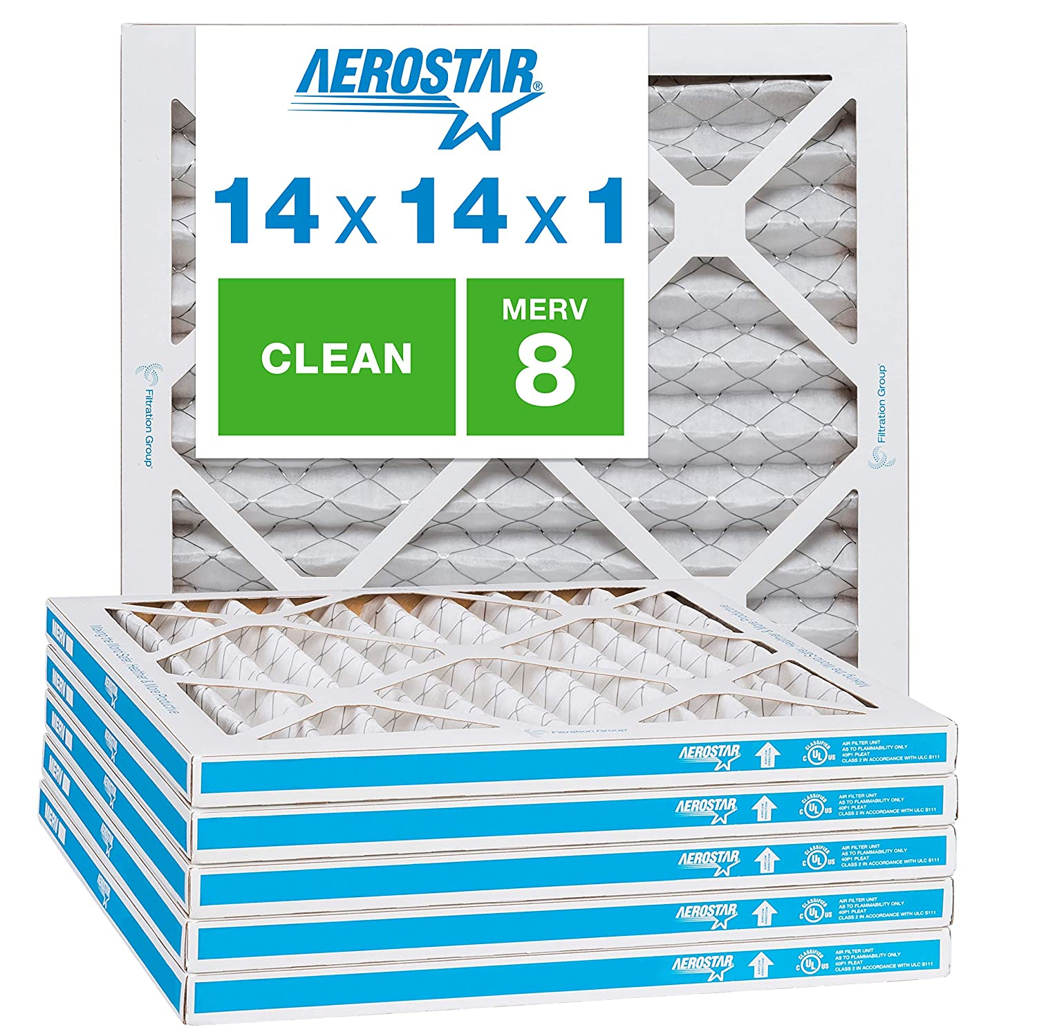 "Aerostar Clean House 14x14x1 MERV 8 Pleated Air Filter, Made in the USA, (Actual Size: 13 3/4""x13 3/4""x3/4""), 6-Pack,White"