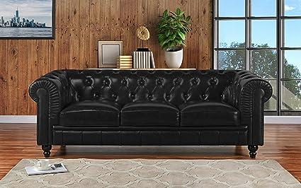 Amazon Com Divano Roma Furniture Classic Scroll Arm Leather Match