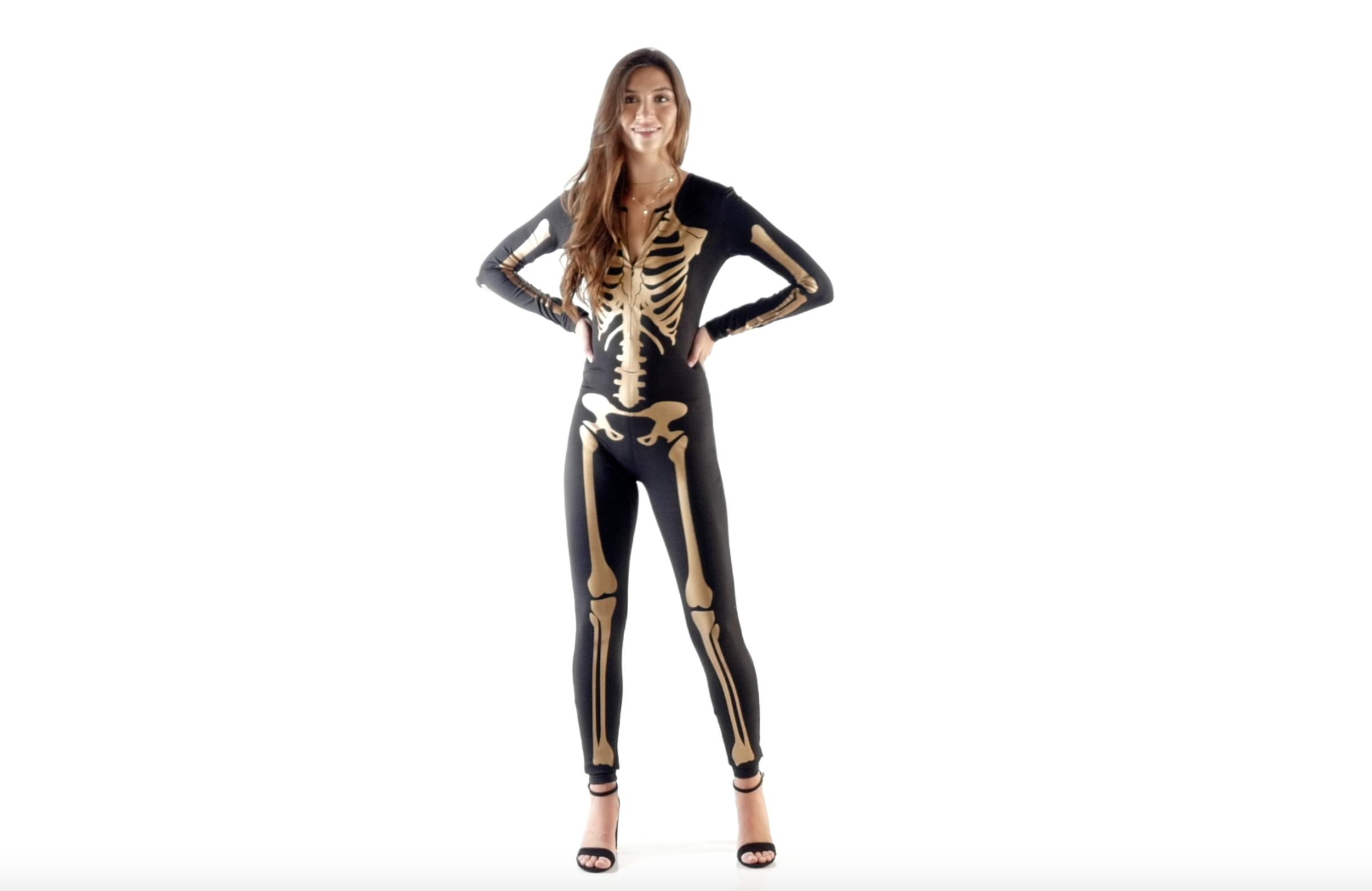Womens Gold Skeleton Bodysuit Golden Skeleton Halloween Costume