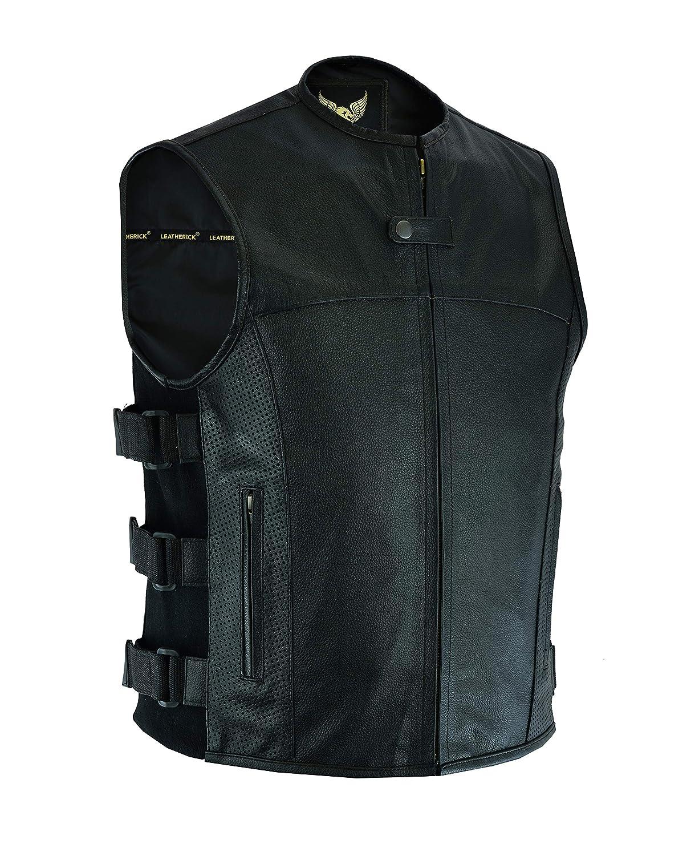 Gilet da uomo in pelle Leatherick SWAT stile tattico con tasche per pistole e fori sulle tasche