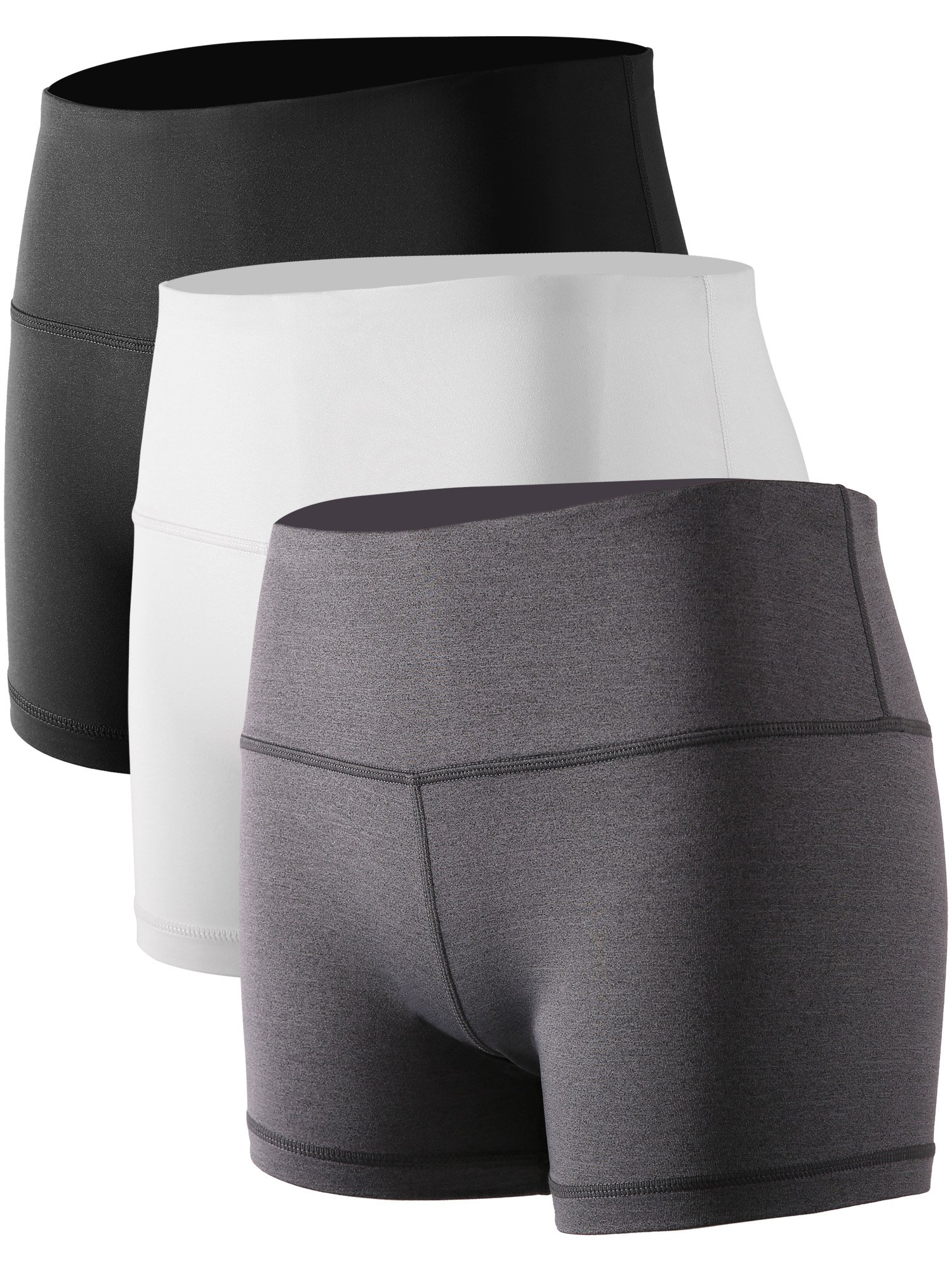 Cadmus Women's Stretch Fitness Running Shorts with Pocket,3 Pack,05,Black,Grey,White,Large by Cadmus