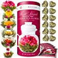 Teabloom Heart Shaped Flowering Tea – 12 Assorted Blooming Tea Flowers Gift Set - Green Tea + Jasmine, Pomegranate, Strawberry, Rose, Litchi & Peach