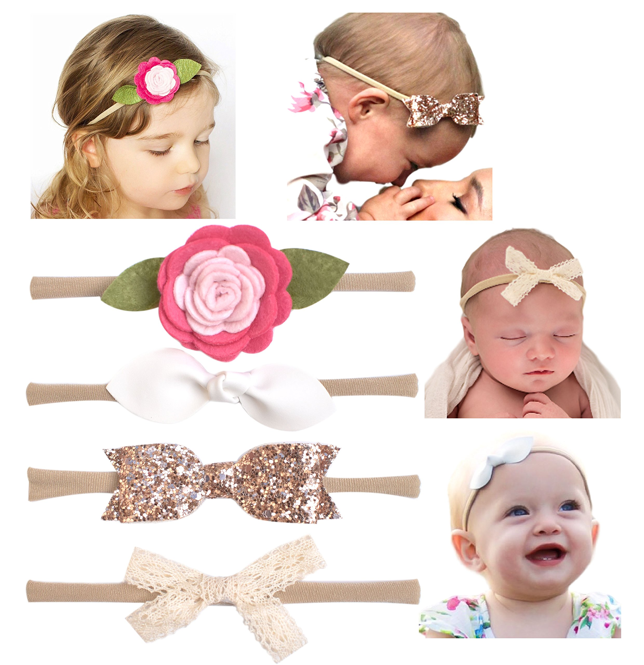 California Tot Soft & Stretchy Headbands for Baby, Toddler, Girls, Mixed Set of 4 (Shabby Chic)