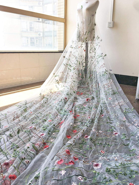 Exquisito bordado de flores de tul Alice vestido gasa de coser ...