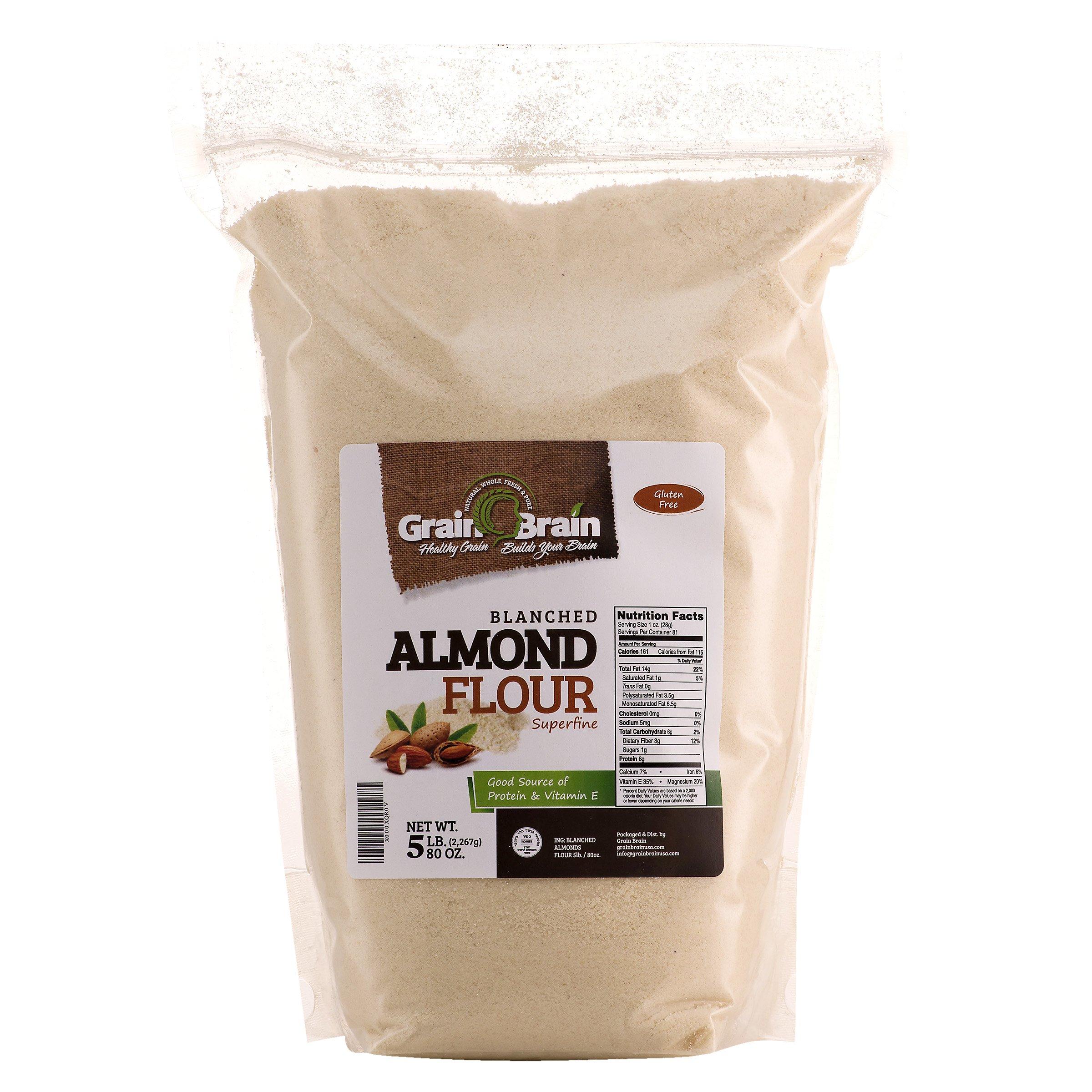 GRAIN BRAIN Blanched Almond Flour/Meal, Super Fine Grind, 5 lb
