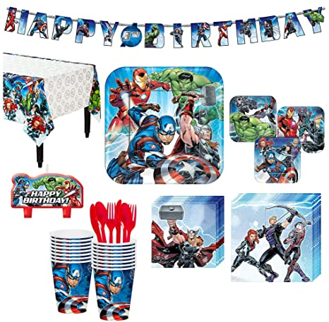 Amazon Avengers Superhero Birthday Party Kit Includes Happy Banner And Candles Serves 16 By City Toys Games