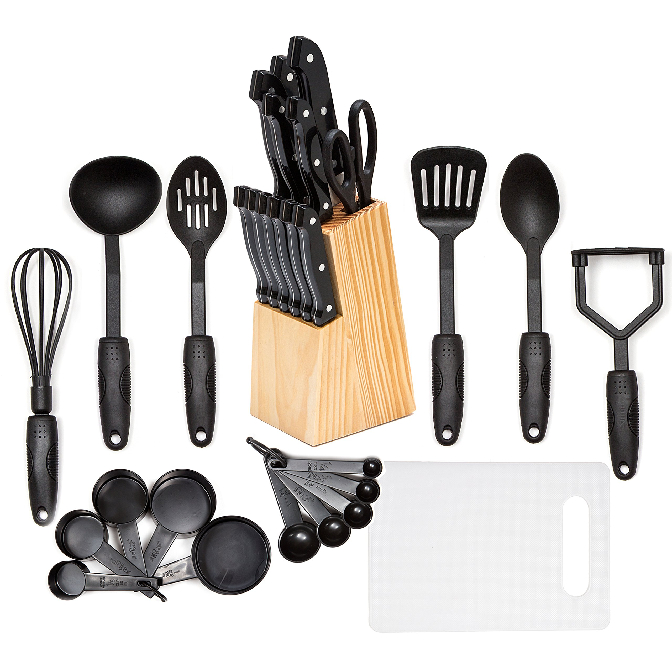 HULLR 30-Piece Kitchen Utensils and Knife Block Set, All Purpose Cooking Tools Stainless Steel & Nylon by HÜLLR