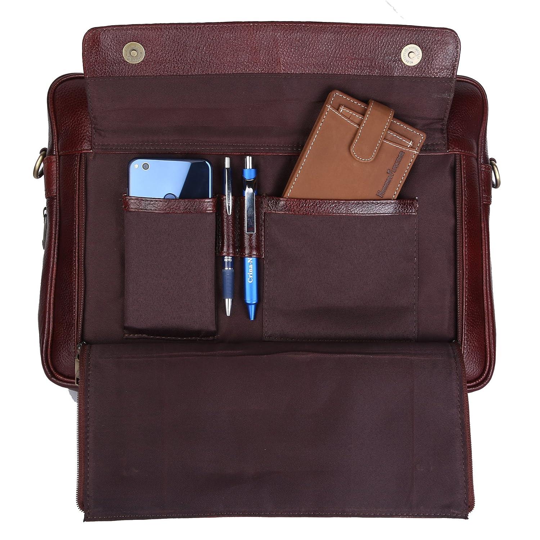 fd04ecd61e Amazon.com  HAMMONDS FLYCATCHER Handmade Briefcase Top Grain Leather Laptop  Bag Messenger Shoulder Bag for Business Office 15.6 inch Laptop Coffee Brown   ...