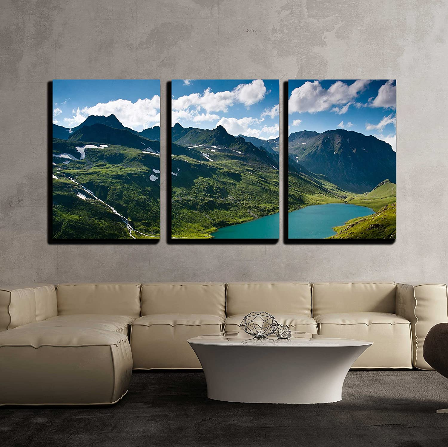 Wall26 art prints framed art canvas prints greeting wall26 3 piece canvas wall art mountain landscape in green wally with crystal river in caucasian mountains modern home decor stretched and framed kristyandbryce Images