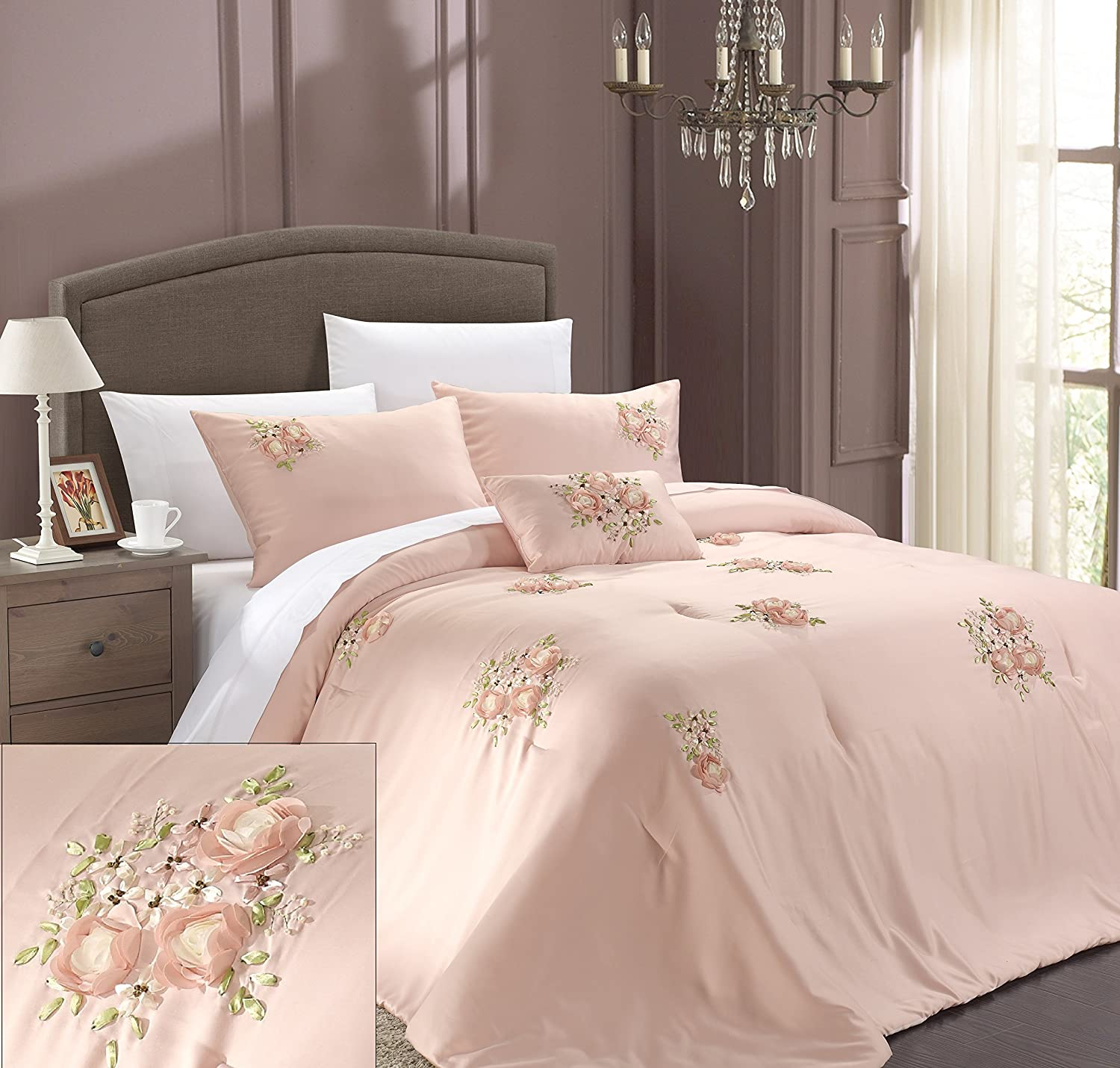 Amazoncom Chic Home Rosetta 5 Piece Comforter Set Queen Pink