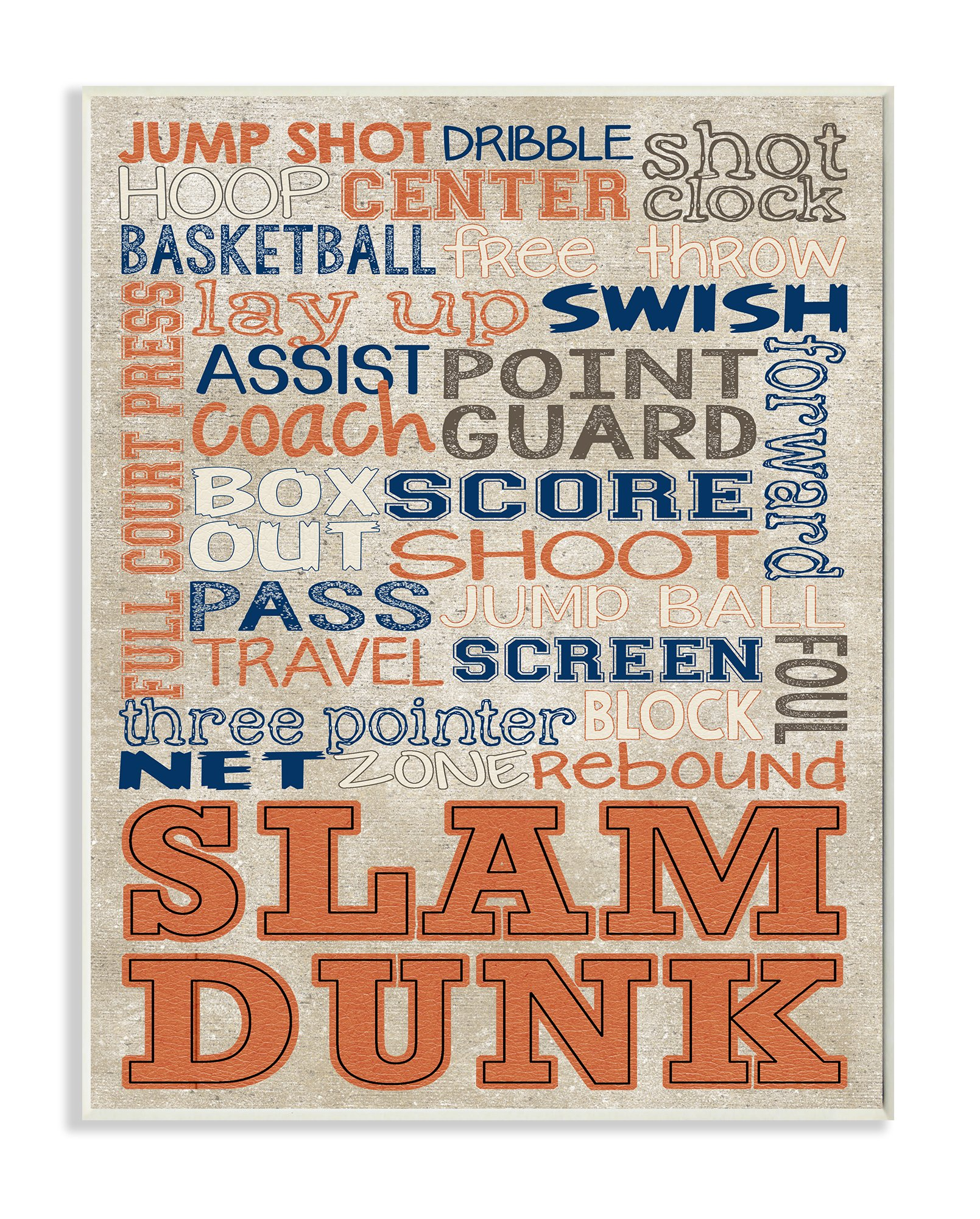 Stupell Home Décor Orange and Navy Basketball Typog Wall Plaque Art, 10 x 0.5 x 15, Proudly Made in USA