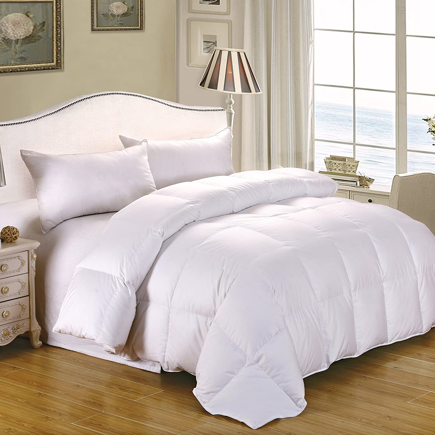CozyFeather Real Goose Down Comforter Duvet - Single - Queen Full - King - Hypoallergenic - 100 Percent Cotton 400 Thread Count - 750 Fill Power - Solid White