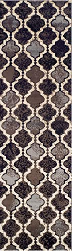 Superior Modern Viking Collection Area Rug, 8mm Pile Height with Jute Backing, Chic Textured Geometric Trellis Pattern, Anti-Static, Water-Repellent Rugs – Chocolate, 2 7 x 8 Runner