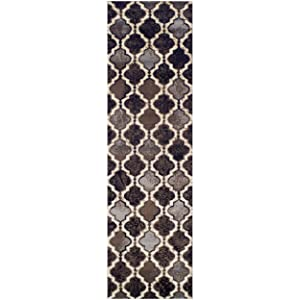 "Superior Modern Viking Collection Area Rug, 8mm Pile Height with Jute Backing, Chic Textured Geometric Trellis Pattern, Anti-Static, Water-Repellent Rugs - Chocolate, 2'7"" x 8' Runner"