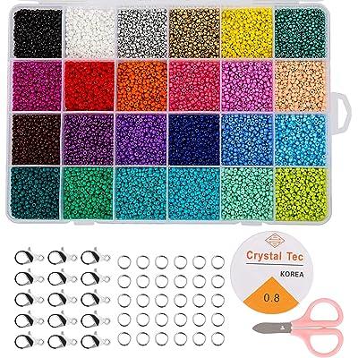 Naler Cuentas de Colores 2mm Mini Cuentas y Abalorios Cristal para DIY Pulseras Collares Bisutería (24 Colores)