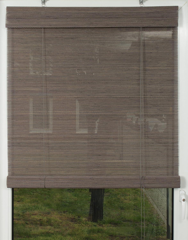 EFIXS Premium Bambusrollo   Rollup aus Rundstäbchen - 200 x 240 cm (Breite x Höhe) – Farbe  grau – weitere Größen im Angebot wählbar