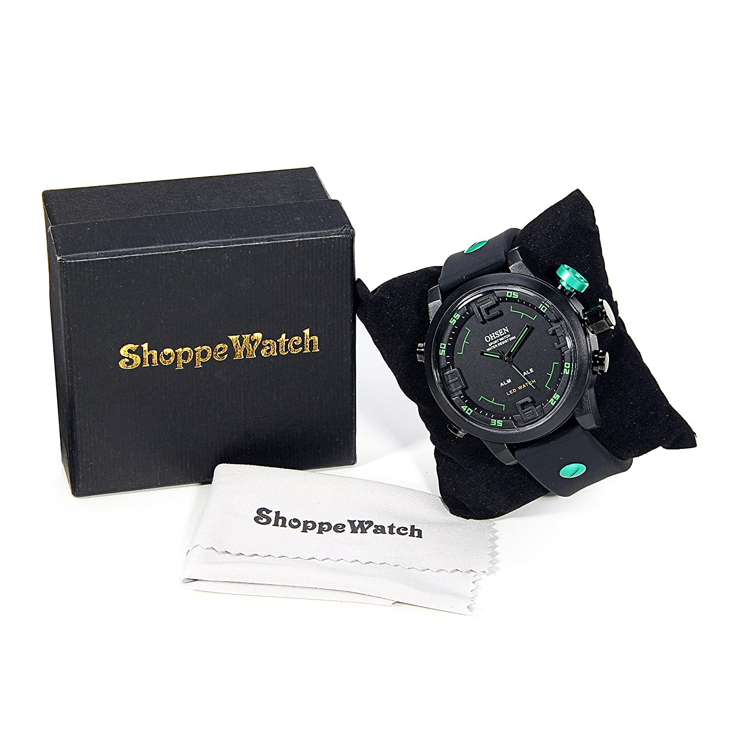 Amazon.com: ShoppeWatch Mens LED Watch Black Silicone Band Dual Time Date Day Sport Green Hand Reloj de Hombre OH-250: Watches