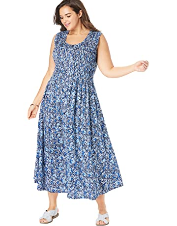 70b2d7186558 Woman Within Women s Plus Size Pintucked Floral Sleeveless Dress