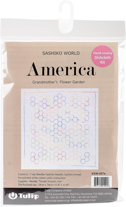 Tulip Needle Company Grandmother's Flower Garden Sashiko World America Stamped Embroidery Kit