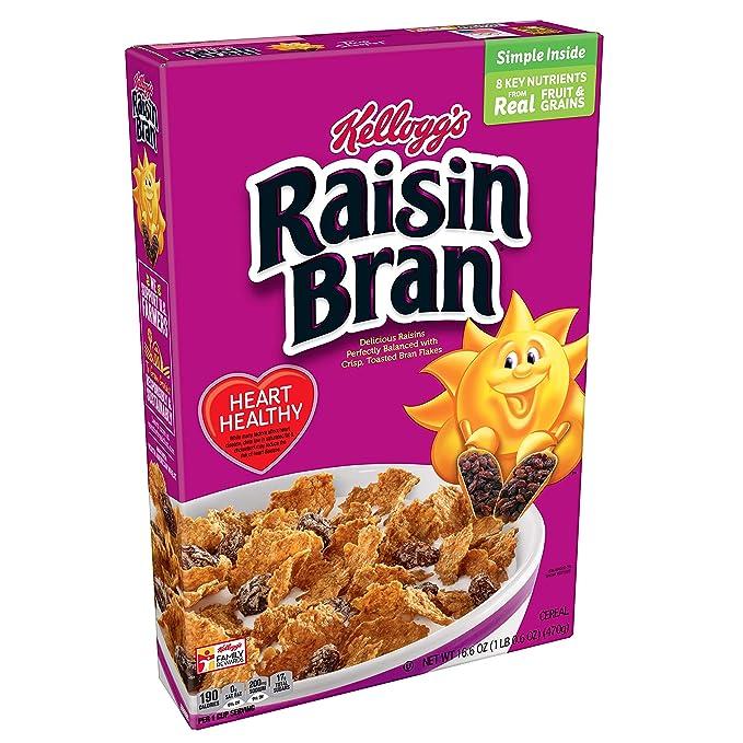Kellogg's Raisin Bran, Breakfast Cereal, Original, Excellent Source of Fiber, 16.6 Ounces (Pack of 1)