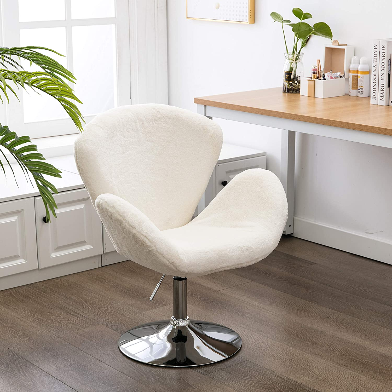 ZHENGHAO Soft Fuzzy Swivel Makeup Stool, Modern White Swan Chair Faux Rabbit Fur Accent Chair for Living Room Bedroom Dressing Room Ivory White