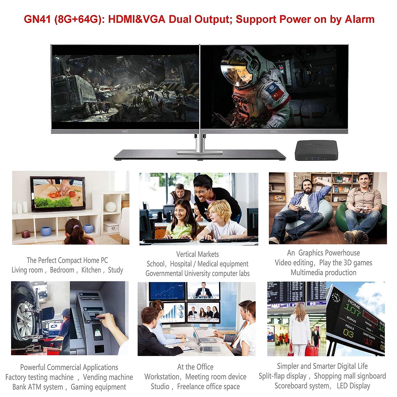 GN41 Fanless Mini PC, 8GB DDR4 64GB eMMC, Intel Celeron N4100 (4MB, up to 2.4G), Ultra HD 4K@60Hz/ 2.4G+5G WiFi/BT 4.2/ 1000M LAN/HDMI&VGA Outputs, ...