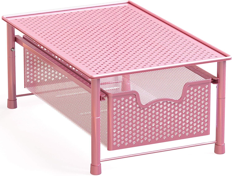 Simple Houseware Stackable 2 Tier Sliding Basket Organizer Drawer Pink