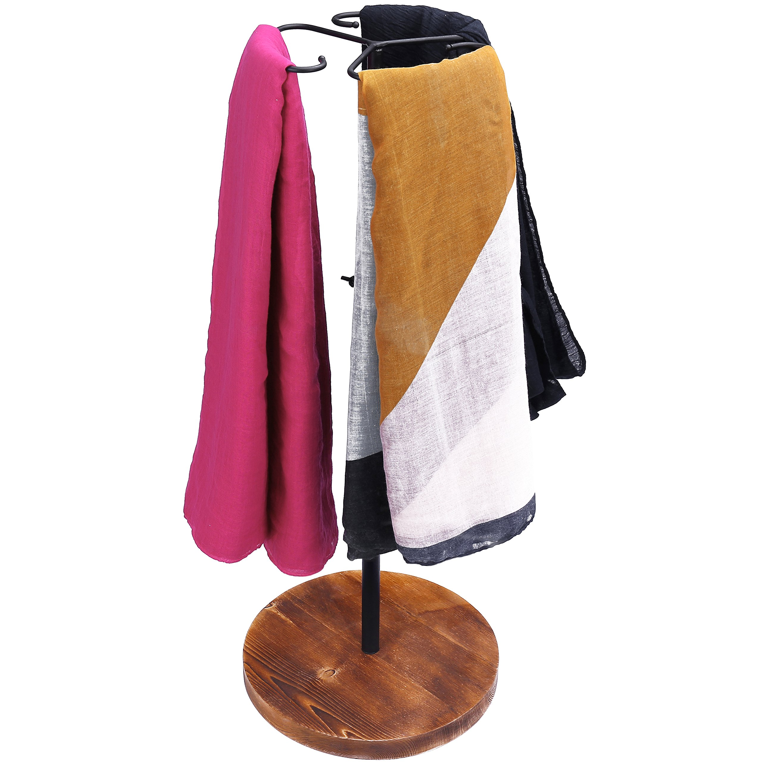MyGift 24-Inch Adjustable Height Scarf Display Rack with Wooden Base by MyGift