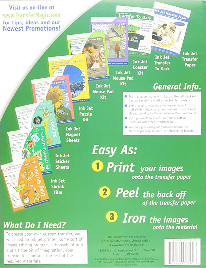 3-Pack Transfer 8-1//2-Inch by 11-Inch Magic Ink Jet Transfer Paper for Dark Fabric
