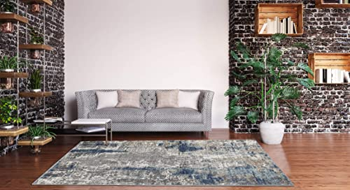 Luxe Weavers Euston Collection 7679 Blue 9×12 Abstract Area Rug