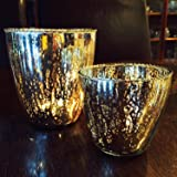 The Best of Americana Stunning Silver Mercury Glass Bead Rimmed Candle Cup Holders, Vintage Wind-lights Style, Set of 2, 4 ¾ and 3 ½ Inches High, For Weddings By Whole House Worlds