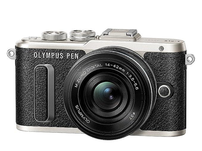 Olympus PEN E-PL8 - Kit regalo con cámara de sistema compacto, 3 correas de piel y con objetivo Pancake 14-42 mm (pantalla táctil de 3