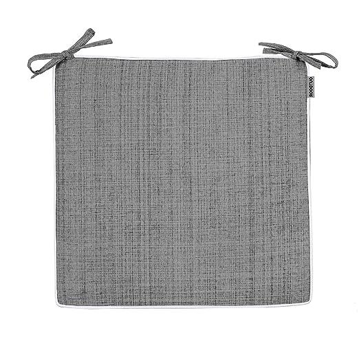 Delindo Lifestyle Cojines para sillas de exterior SAMBA gris antracita, 2 piezas, impermeable, antimanchas, casa y jardin, 40x40 cm