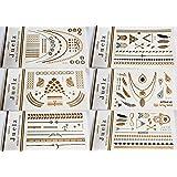 2 Paquets d'assortiment de tatouages temporaires bijoux de peau Or et Argent Feuilles de 210mm x 150mm