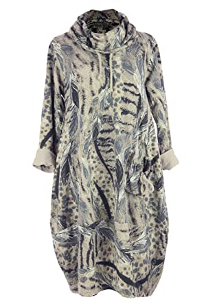 813c021a8ef TEXTURE Ladies Womens Italian Lagenlook Cowl Feather Leopard Print Pocket  Cotton Tulip Tunic Midi Dress One Size (Beige, One Size): Amazon.co.uk:  Clothing