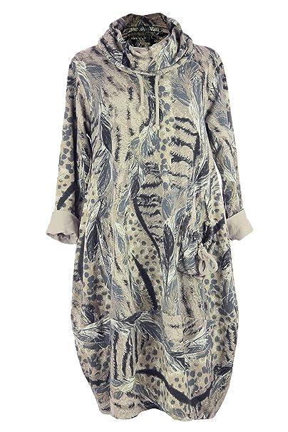 1c37d2a1f9 TEXTURE Ladies Womens Italian Lagenlook Cowl Feather Leopard Print Pocket  Cotton Tulip Tunic Midi Dress One Size (Beige