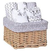 Trend Lab 7 Piece Bib & Burp Feeding Basket Gift Set, Safari Gray