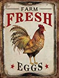 "Barnyard Designs Farm Fresh Organic Eggs Retro Vintage Tin Bar Sign Country Home Decor 10"" x 13"""