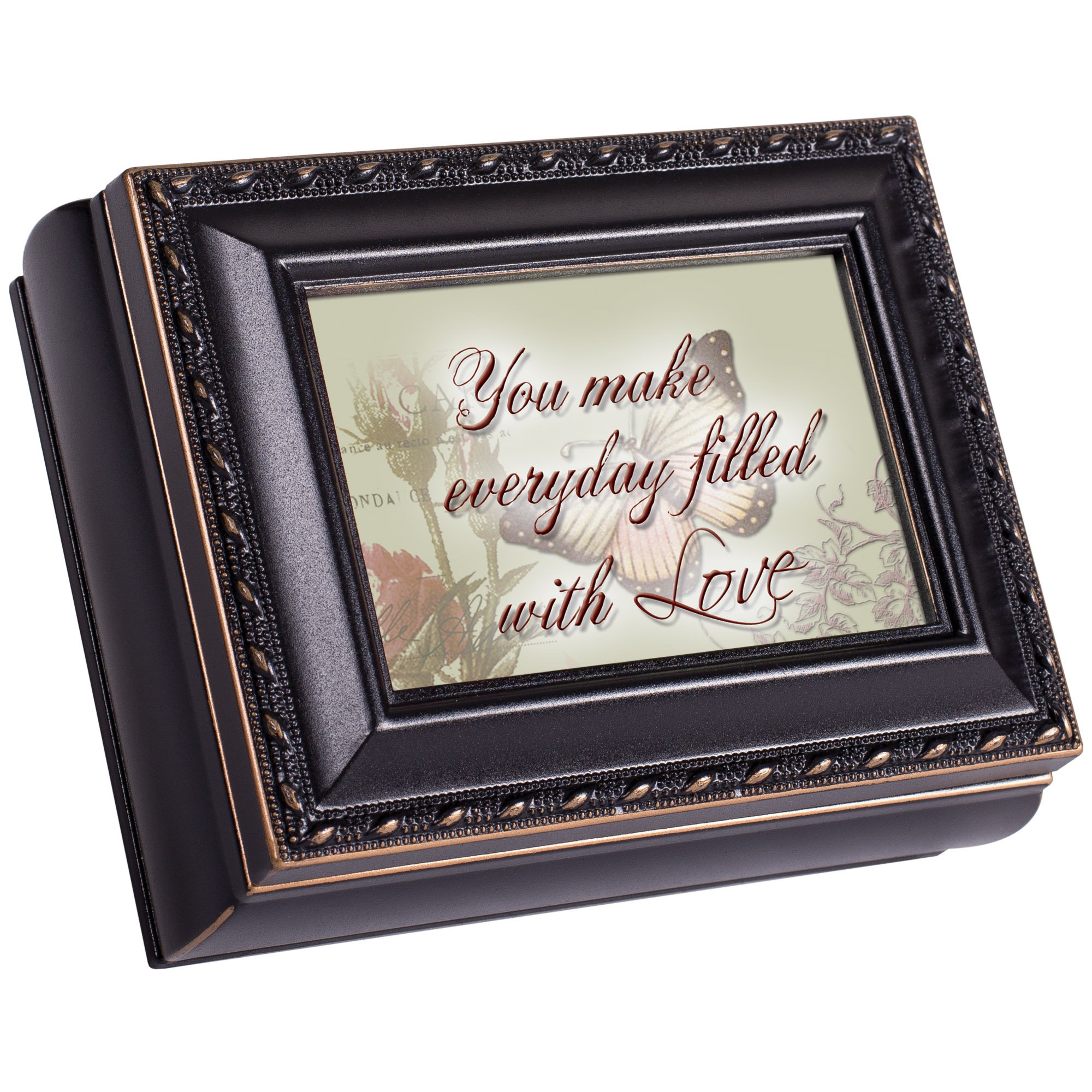 You Make Everyday Filled With Love Distressed Black Cottage Garden Tiny Square Treasure/Keepsake Box
