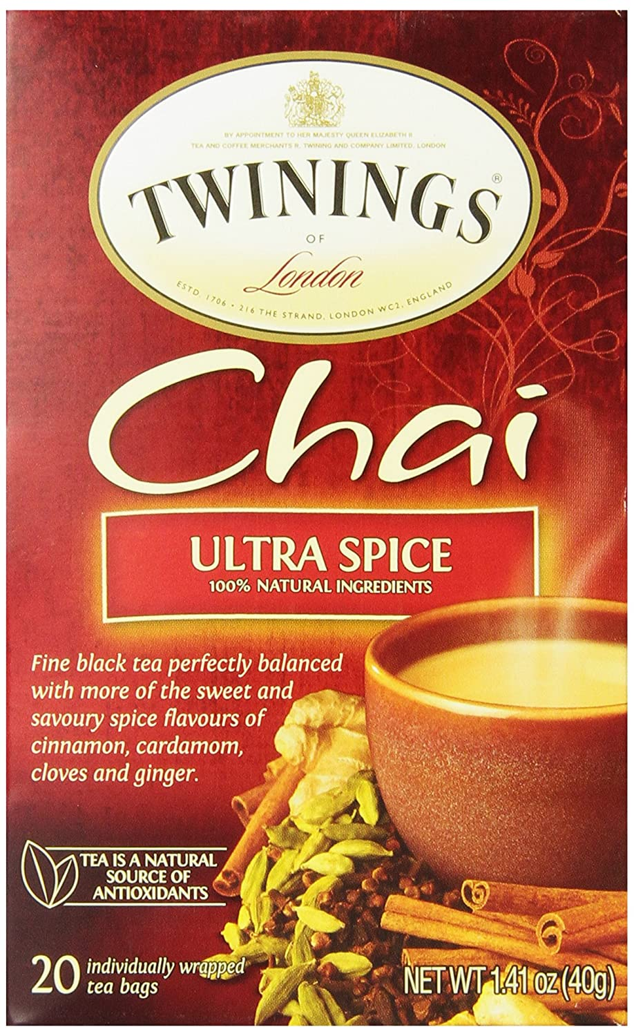 Twinings of London Ultra Spice Chai Tea Bags, 20 Count (Pack of 1)