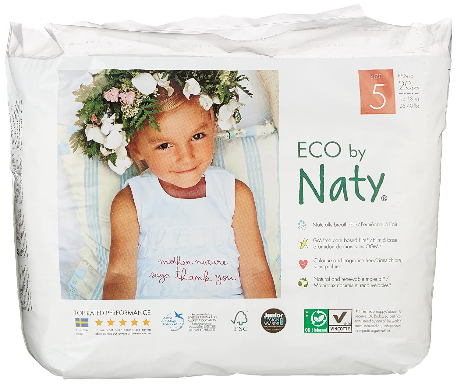Naty by Nature Babycare ECO Lot de 4 packs de 20 culottes d'apprentissage 80 fils Taille 5 244107