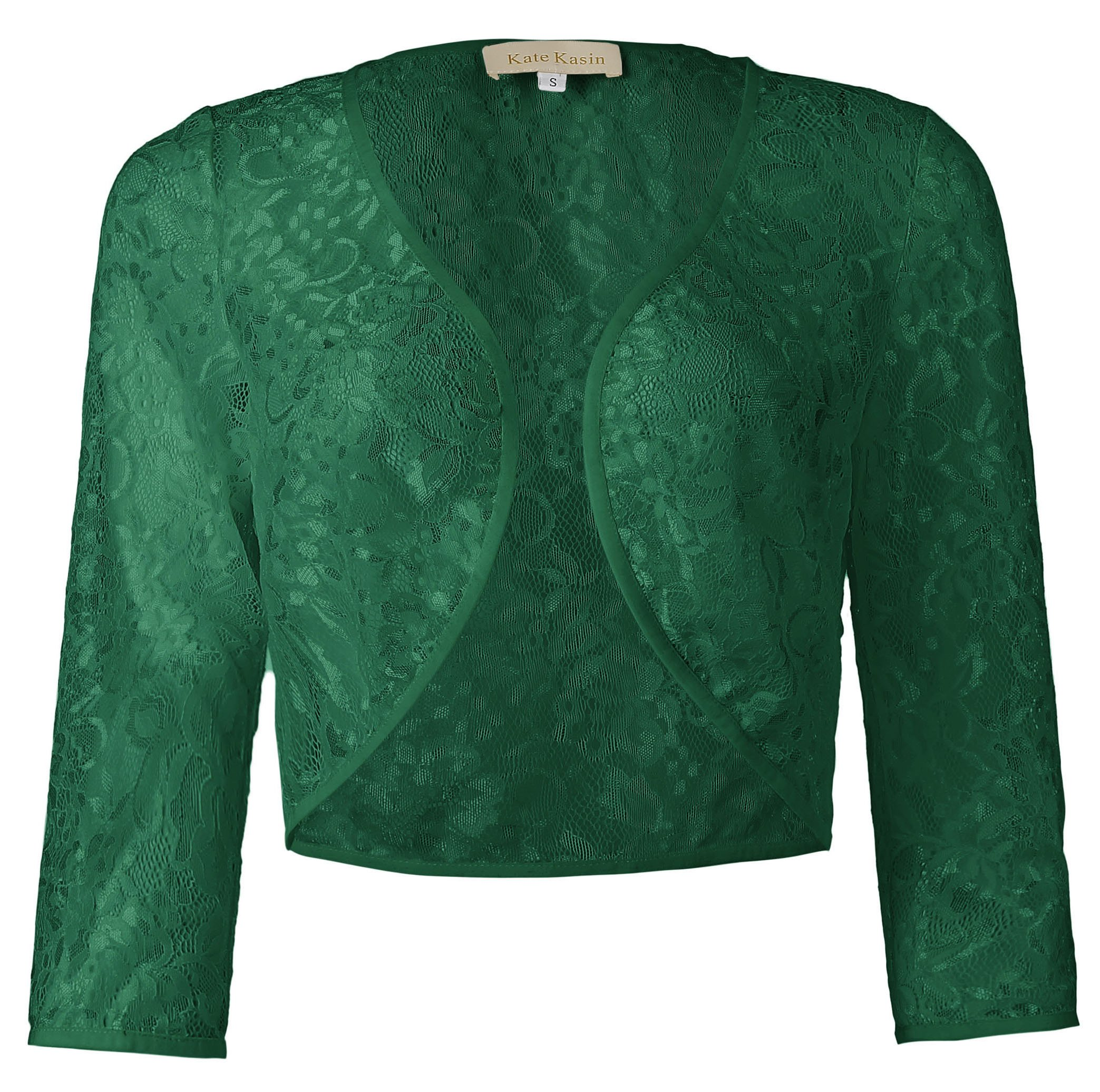 Kate Kasin Womens Floral Lace Bolero 3/4 Sleeve Shrug Open Front (Dark Green, M) KK430-4