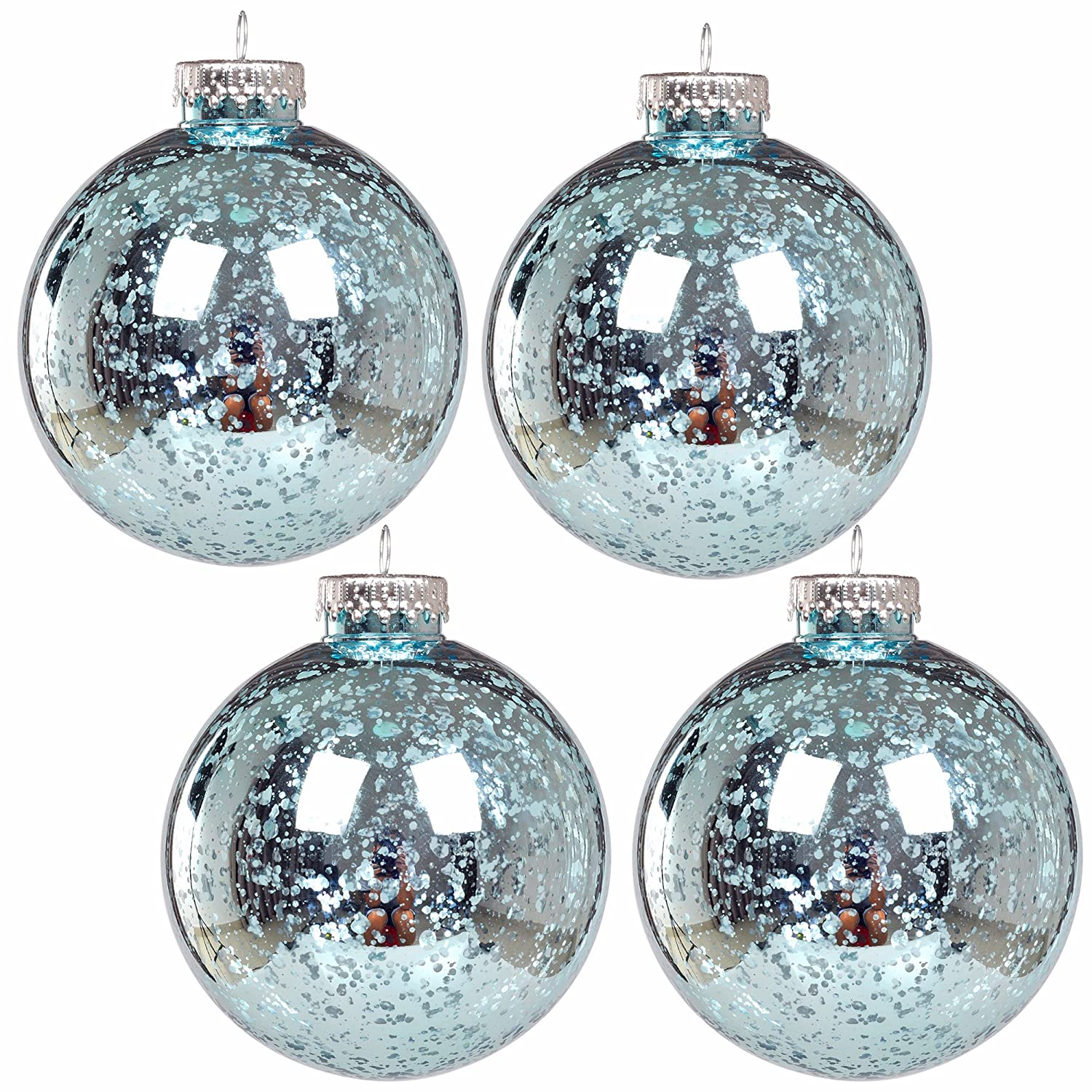 Christmas Teal Mercury Ball Vintage Ornaments Set of 4