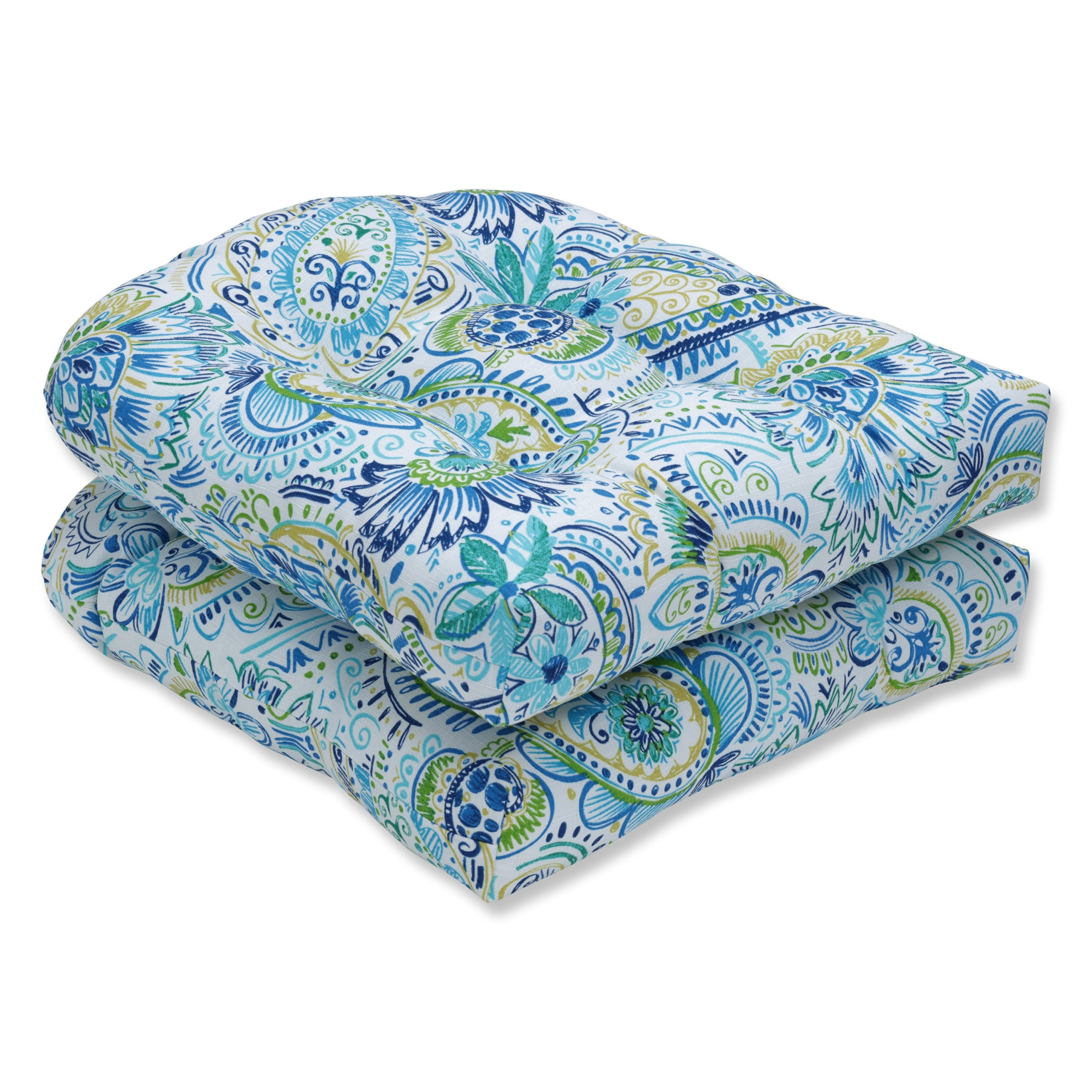 Pillow Perfect Outdoor | Indoor Gilford Baltic Wicker Seat Cushion (Set of 2), 2 Piece by Pillow Perfect