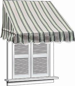 ALEKO WAW6X2MSTRGR58 Window Canopy Awning 6 x 2 Feet Multi-Stripe Green