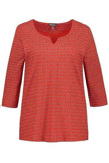 43aa74d8f16 Ulla Popken Femme Grandes Tailles T-Shirt col Tunisien imprimé Graphique  Rouge 44 46