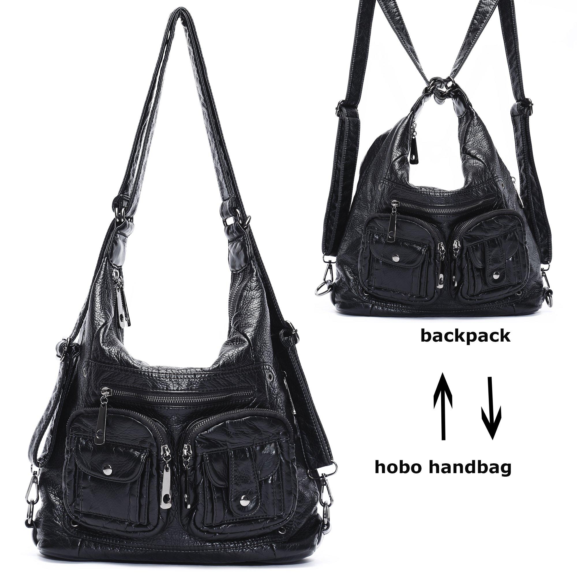 Mlife Soft Washed Leather Women Shoulder Bag Hobo Backpack (Black)