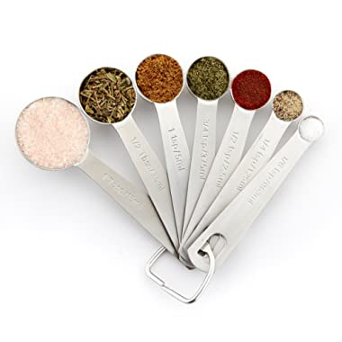 Spring Chef Measuring Spoons, Heavy Duty Round Stainless Steel Metal, for Dry or Liquid - Set of 7