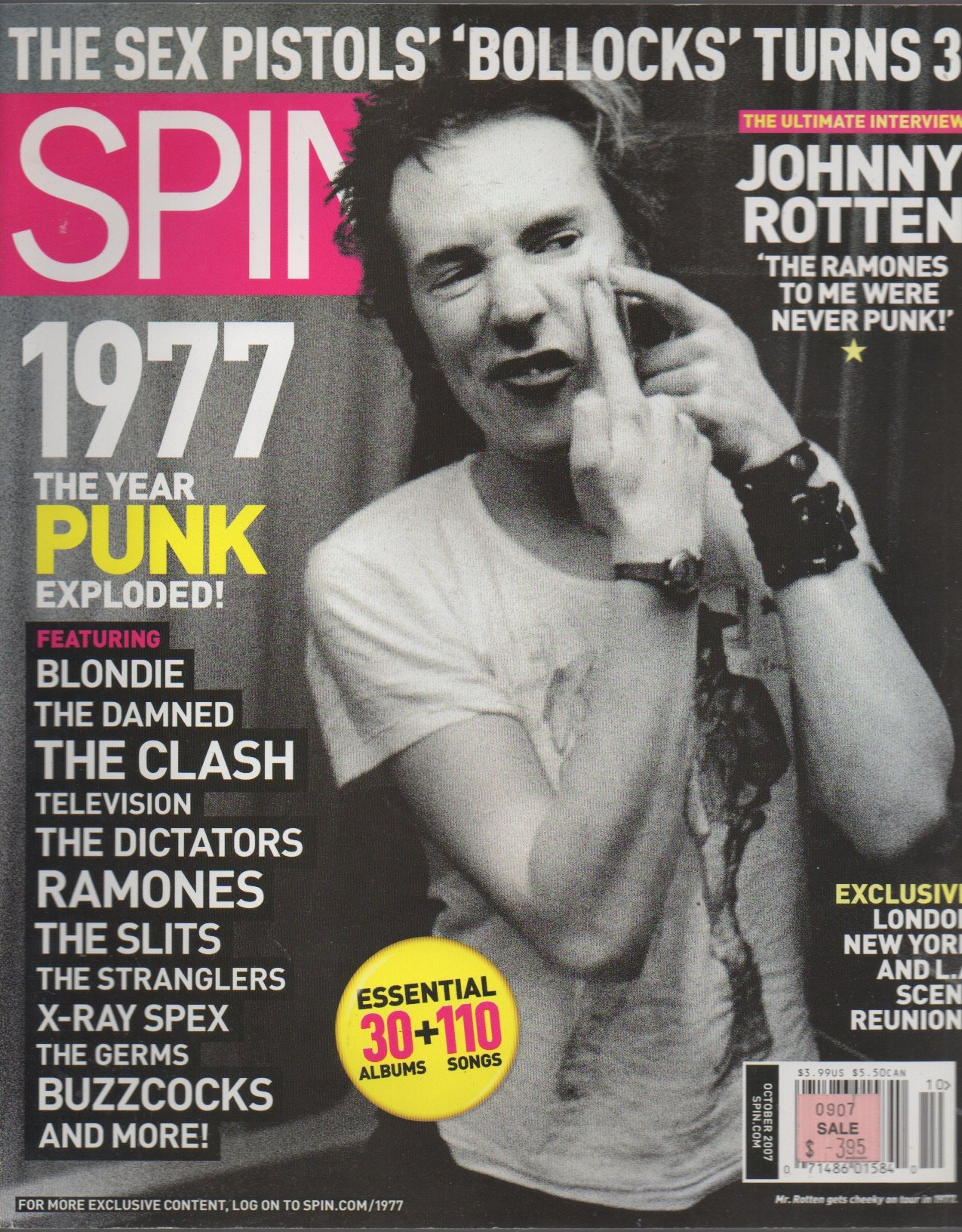 Download Spin Magazine October 2007 Johnny Rotten Cover pdf epub