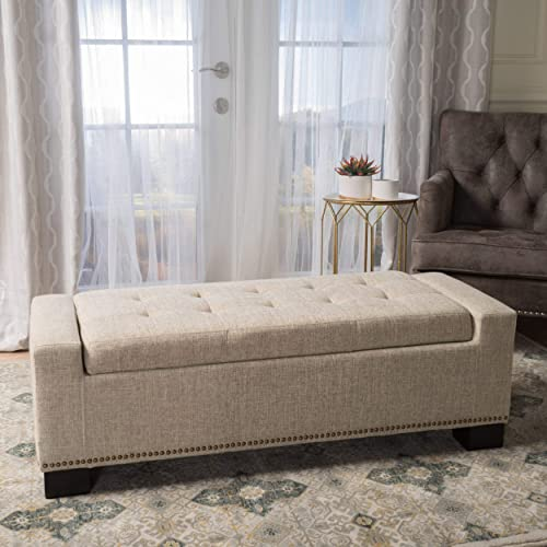 Christopher Knight Home Living Espana Wheat Fabric Storage Ottoman w Studs